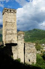 Mestia protective towers,medieval landmark,Svaneti,Georgia