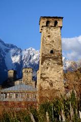View of Ushguli,highest settlement in Europe,Georgia