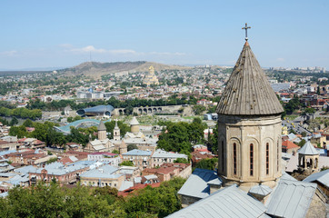 Roofs of old Tbilisi with top of Saint Bethlehem Church,Gerogia