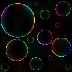 Colorful bubbles, unusual dark abstract backgroun