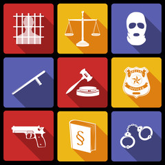 Law and Justice Icons Flat