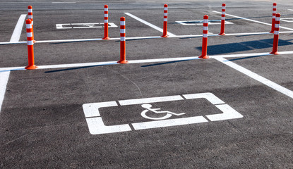 Parking space reserved for handicapped shoppers in a retail park