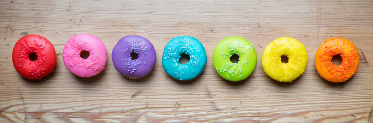 Row of colorful donuts