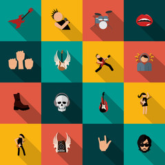 Rock music icons flat