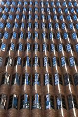 Rhythmic facade, windows, brick. Sydney.