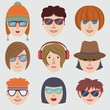 Hipster girl faces