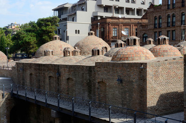 Famous Tbilisi landmark - medieval sulphur bathes in Abanotubani