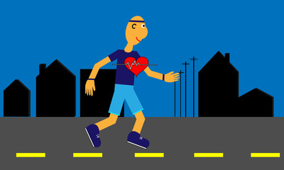 Heart Health with Jogging Cartoon