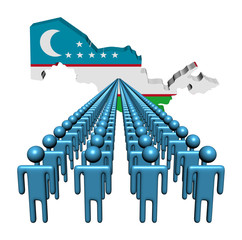 Lines of people with Uzbekistan map flag illustration