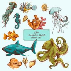 Sea creatures sketch colored
