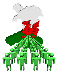 Lines of people with Wales map flag illustration