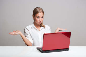 Blond beauty with laptop.