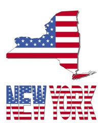 New York map flag and text illustration