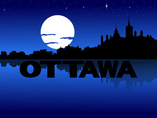 Ottawa skyline reflected with text and moon illustration