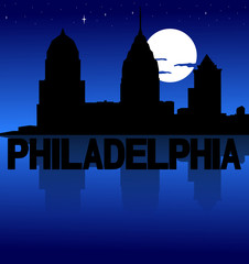 Philadelphia skyline reflected with text and moon illustration