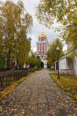Autumn day in the Novodevichy Monastery in Moscow.