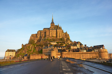 Mont Saint Michel autumn morning.