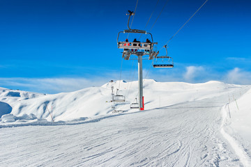 Ski lift chairs in the Alps,La Toussuire,France,Europe
