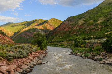 colorado river flowing through mountains