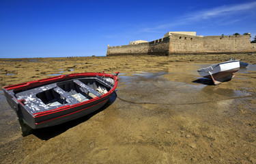 View of the castle of Santa Catalina Cadiz, Andalusia, Spain
