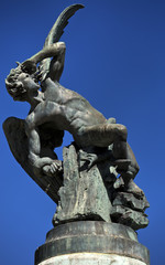 Fallen Angel fountain. Buen Retiro Park in Madrid