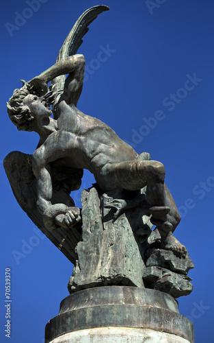 Fallen Angel fountain. Buen Retiro Park in Madrid - 70539370