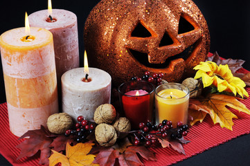 Happy Halloween table setting centerpiece