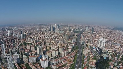 aerial istanbul turkey business city center levent skyscraper