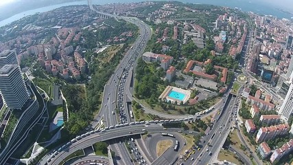 aerial istanbul turkey traffic business city center levent