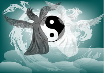 Yin and Yang fantasy with angels