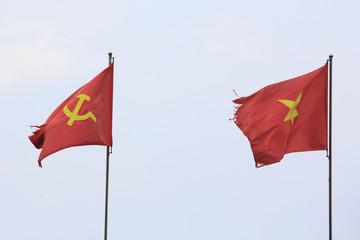 Flag of Vietnam before a blue sky