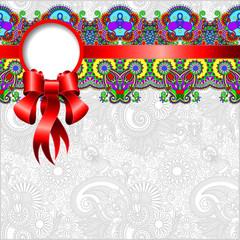 ethnic ornamental pattern with silk ribbon