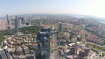 aerial istanbul turkey traffic business city center skyscraper