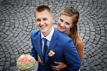 Happy newly married couple smiling Portrait close-up view from a