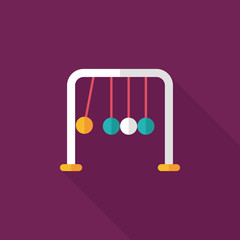 Newton's Cradle flat icon with long shadow,eps10