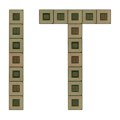 letters IT made of old and dirty microprocessors