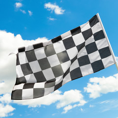 Checkered flag waving in the wind - 1 to 1 ratio