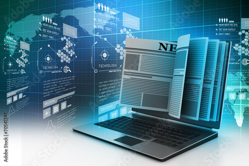 laptop screen showing latest online news - 70541346