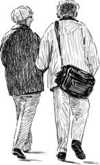 elderly spouses walking