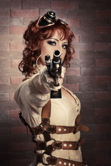 Steampunk girl with gun