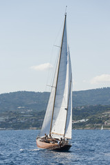 Ancient sailing boat during a regatta at the Panerai Classic Yac