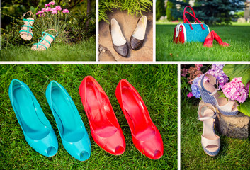 collage of women's shoes, shoe ads, shopping
