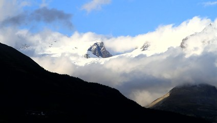 Clouds on the glacier of Monte Rosa, Alps - Italy