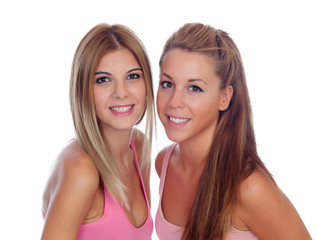 Two beautiful friends in pink