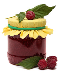 Glass jar with raspberry jam isolated on the white background