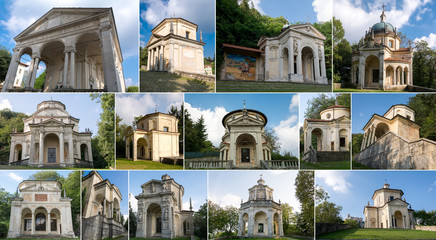 Collage of chapels in Sacro Monte, Varese