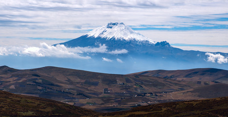 Cotopaxi volcano over the plateau, Andean Highlands of Ecuador