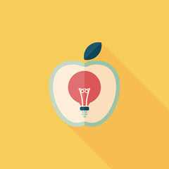 light bulb in apple flat icon with long shadow,eps10