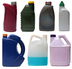 Plastic bottles from automobile oils isolated  white background