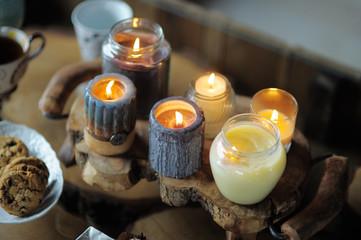 Beautiful ablaze candle